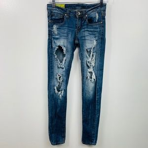 Machine Destroyed Skinny Denim Blue Jeans Size 27